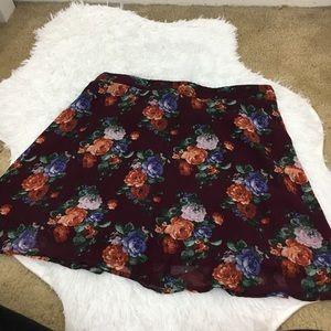 Burgundy floral print TOBI skirt with side zipper